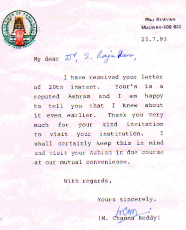 Mr. M. Channa Reddy's letter