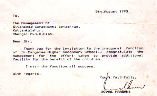Mr. Kamal Hassan's letters