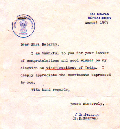 Mr. Shanker Dayal Sharma's letters